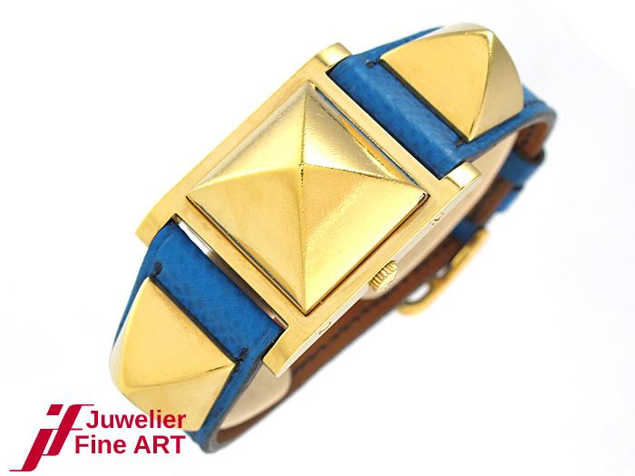 herm s m dor damenuhr stahl hartvergoldet quarz lederband 42 6 g ebay. Black Bedroom Furniture Sets. Home Design Ideas